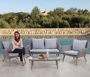 Poly Rattan Lounge Garnitur Set Glas Tisch Stühle Sitzgruppe