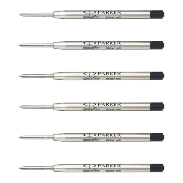 Black Medium Parker Quink Gel Ballpoint Refill Pack of 12