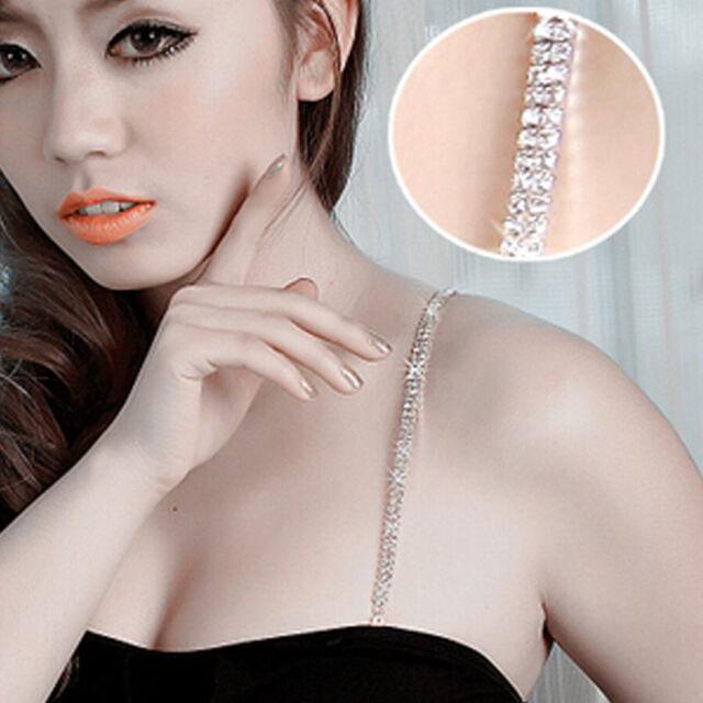 1 Pair Fashion Adjustable Crystal Rhinestone Double Row Bra Shoulder Strap n