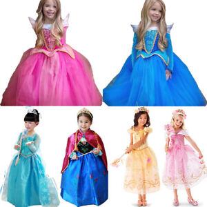 Girls-Disney-Elsa-Frozen-Dress-Costume-Princess-Queen-Anna-Party-Dresses-Cosplay