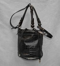 B2 Auth KENZO PARIS Black Croc Embossed Leather Drowstring Shoulder Bucket Bag