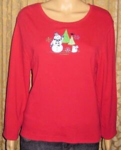 Onque-Casuals-Red-With-Fun-Winter-Scene-Size-XL-100-Cotton-Long-Sleeve-Top