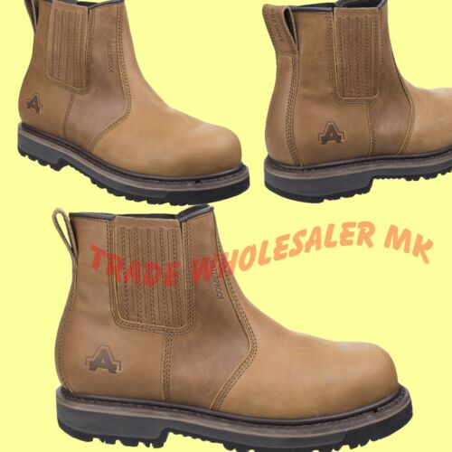 AMBLERS DEALER CHELSEA STEEL TOE CAP WORTON SAFETY WORK BOOTS BROWN AS232