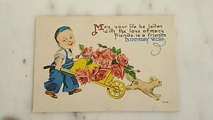 Image Is Loading Antique Postcard Birthday Wish Little Boy With Cart