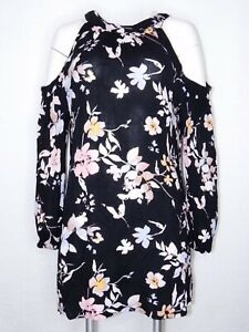 7d0765c20a6 Band of Gypsies Medium Tunic Cold Shoulder Creep Blouse Black Floral ...
