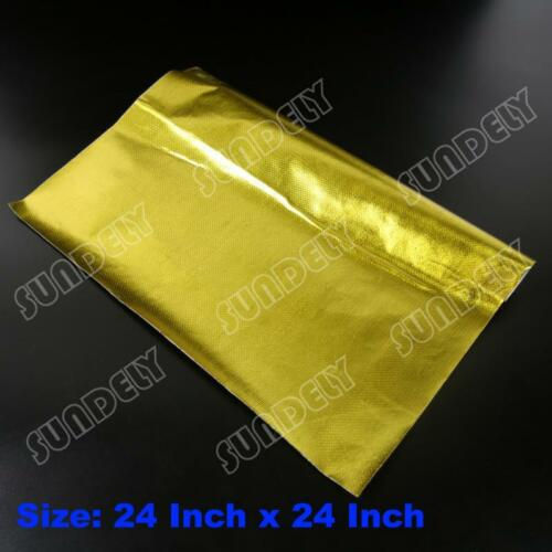 "SELF ADHESIVE REFLECTIVE GOLD HIGH TEMPERATURE HEAT WRAP TAPE 24/"" x 24/"" WIDE UK"