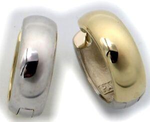 Herren Ohrringe Klapp Creolen Gold 333 Bicolor gelb weiß gewölbt 16 mm 8 karat