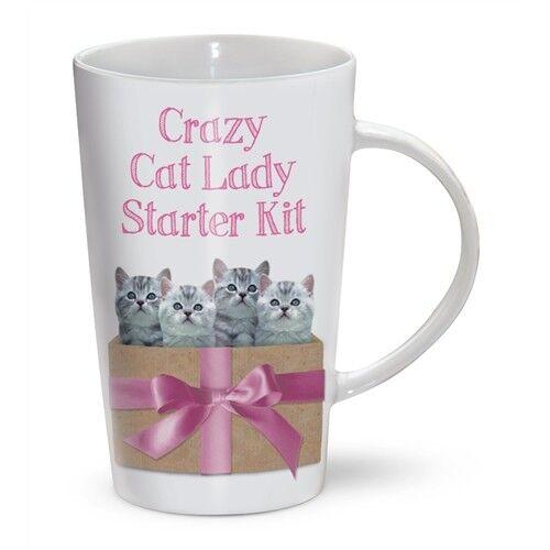 Crazy Cat Lady Starter Kit Tall Ceramic Latte MugCute Gift for Cat Lovers