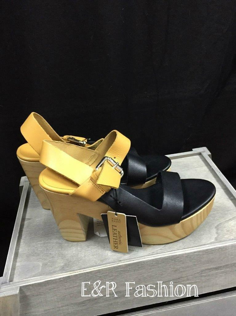 ZARA GENUINE LEATHER TWO TONE WOODEN SANDALS SIZE UK 5 EUR 38 REF  2532 301