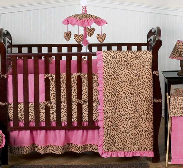 Cheetah Animal Print Pink And Brown Baby Girl Bedding 9pc Crib Set