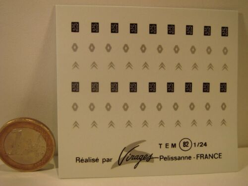 VIRAGES  T82 CITROËN RENAULT DECALS 1//24 SIGLES PEUGEOT