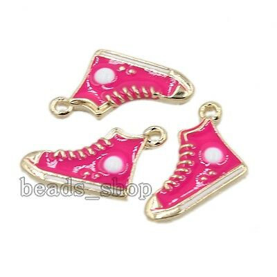 10/50xPlated Gold Colorful Enamel Alloy Shoes Pendant Findings Making Jewelry BS