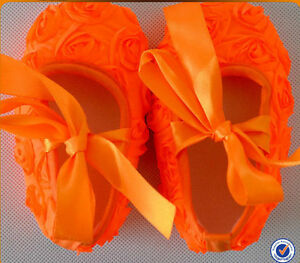 Zapatos De Bebé Naranja Fluorescente Brillante Primera Bautizo Fiesta Encaje Lazo Cochecito