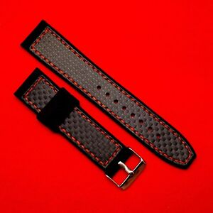 1719054a6a4 Image is loading 22mm-Carbon-Fibre-Fabric-Top-Red-Stitching-Silicone-