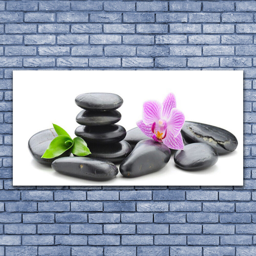 Glass print Wall art 140x70 Image Picture Flower Stones Art