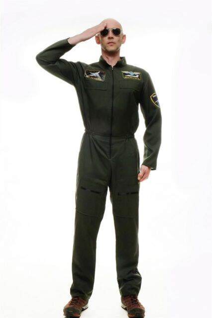 Dress me up Costume Mens Men's Costume Pilot Kampfpilot Overalls Air Force M-052