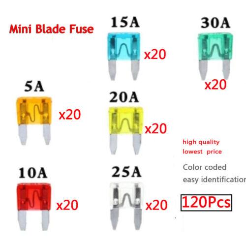 120pc MINI Blade Fuse Assortment Auto Car Motorcycle SUV FUSES Kit APM ATM