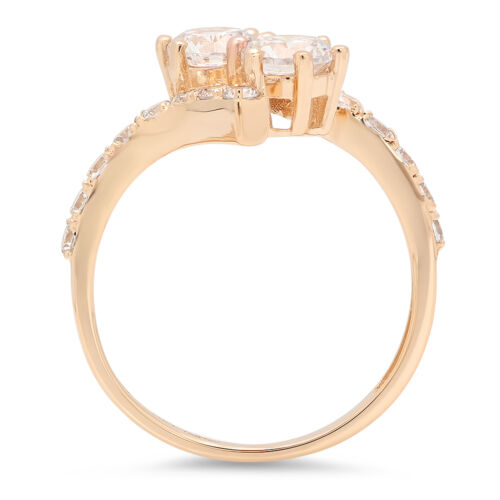 1.78ct Round Cut Engagement Wedding Promise 2-Stone Curved Ring 14k Yellow Gold