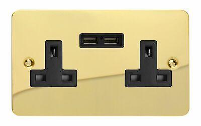 Varilight XG5U2SDB Georgian Polished Brass 2 Gang 13A Plug Socket 2.1A USB