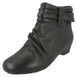 2dcf8cf8f10 Details about LADIES CLARKS WIDE FIT BLACK LEATHER RUCHED CASUAL ANKLE BOOTS  MATRON ELLA SIZE