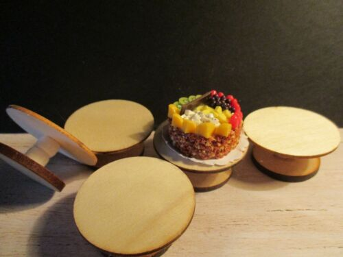 2 DOLLS HOUSE MINIATURE WOODEN CAKE STANDS A3