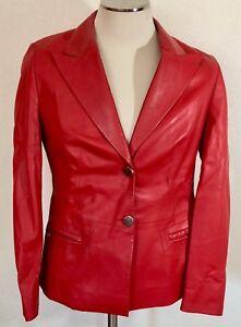 Louis-Feraud-Leather-Blazer-Jacket-Red-Size-8-SS0497