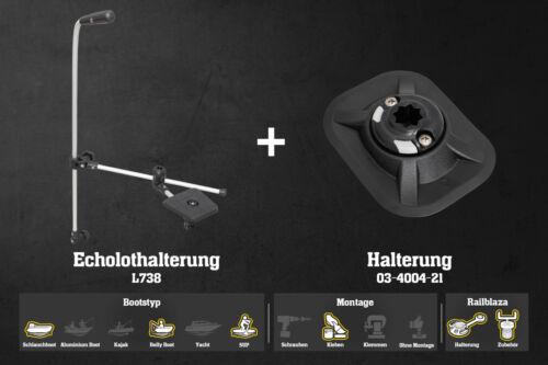 Railblaza Verstelbare Echolothalterung Montage Set Halterung RibPort Kleben