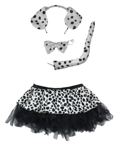 """Ladies 12/"""" Dalmatian Cyber Tutu Skirt with Ears Tail and Bowtie Set"""