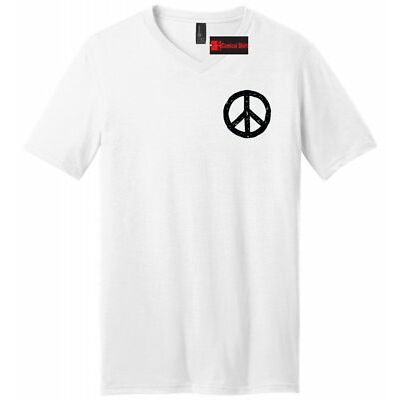 Peace Chest Print Mens V-Neck T Shirt Peace & Love Tee Peace Symbol Gift Tee