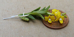1:12 Scale Yellow Orchid Dolls House Miniature Flower Garden Accessory 21s