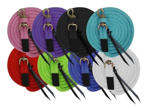 10/' Horse Training Poly Lead Rope Line Removable Brass Snap Leather Poppers asst