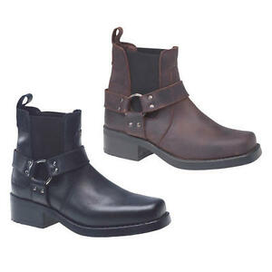 ef886187c4d Details about Gringos Harley Harness Mens Black Brown Short Cowboy Biker  Ankle Boots Size 7-11