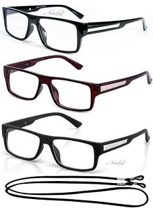 5afeb892550 Image is loading Mens-Fashion-Rectangular-Reading-Glasses-Retro-Readers -Metal-