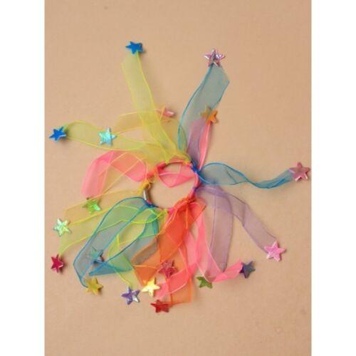 Girls Chiffon Ribbon Windmill Elastic Hair Bunch Frosty Stars Iridescent Party