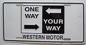 1990 39 s one way your way western motor booster license plate ebay. Black Bedroom Furniture Sets. Home Design Ideas