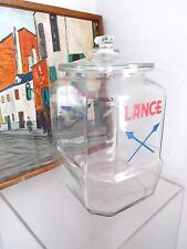 Rare Old Vintage Lance Cracker 8 Sided Glass Jar Store Counter Display Glass Lid