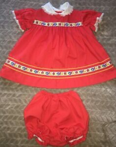 1abed5924 9 12 months Vintage USA RED Baby Dress w/bloomers lace Zig Zag Trim ...