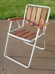 Excellent Details About Vintage Retro Aluminum Folding Lawn Chair Plastic Arms Redwood Seat Back Download Free Architecture Designs Scobabritishbridgeorg