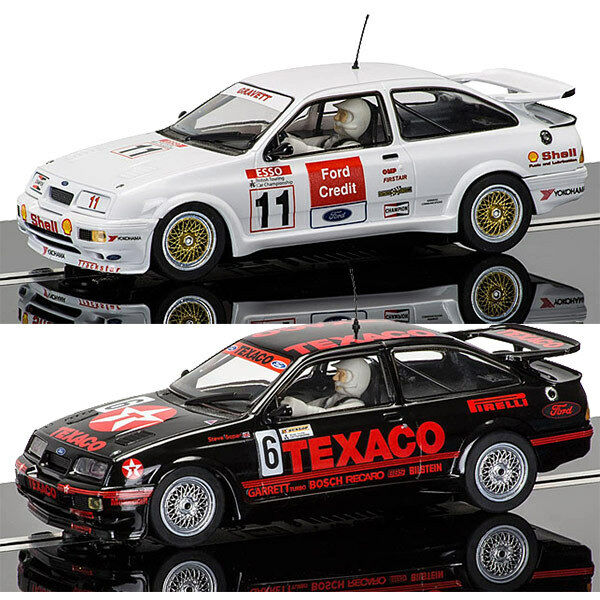SCALEXTRIC Slot Cars C3738 C3781 BTCC - 2x Ford Sierra RS500 Brands Hatch