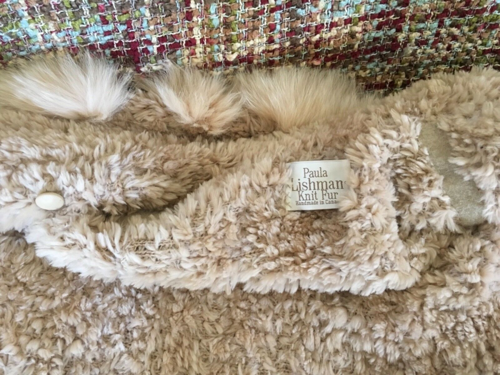 "Gorgeous Paula Lishman new"" new"" new"" Tchaikovsky hand knit beaver coat cashmere color siz 18a02a"
