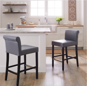 Strange Details About New Set Of 2 Grey Leather Bar Counter Stools Chairs Height Seat Kitchen Room Pdpeps Interior Chair Design Pdpepsorg