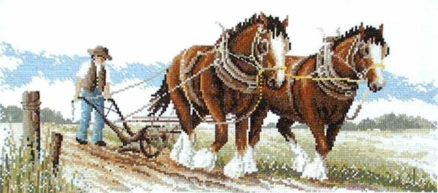 Clydesdale Horses At Work Cross Stitch Kit