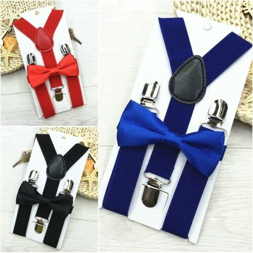 Solid Color Clip-on Suspenders Elastic Adjustable Braces with Bow Tie for Kids