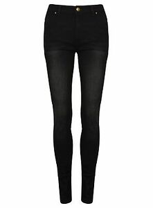 Ex-Womens-NEW-LOOK-Black-Super-Skinny-Washed-Jeans-Size-10-18