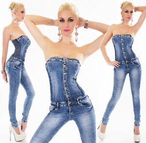 Tuta-jeans-donna-fascia-overall-jeans-elasticizzato-lati-fisarmonica-nuova