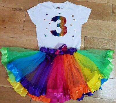 Unicorn Birthday Outfit Dress pastel Tutu Headband 1st 2nd 3rd 4th 5th 6th 7th