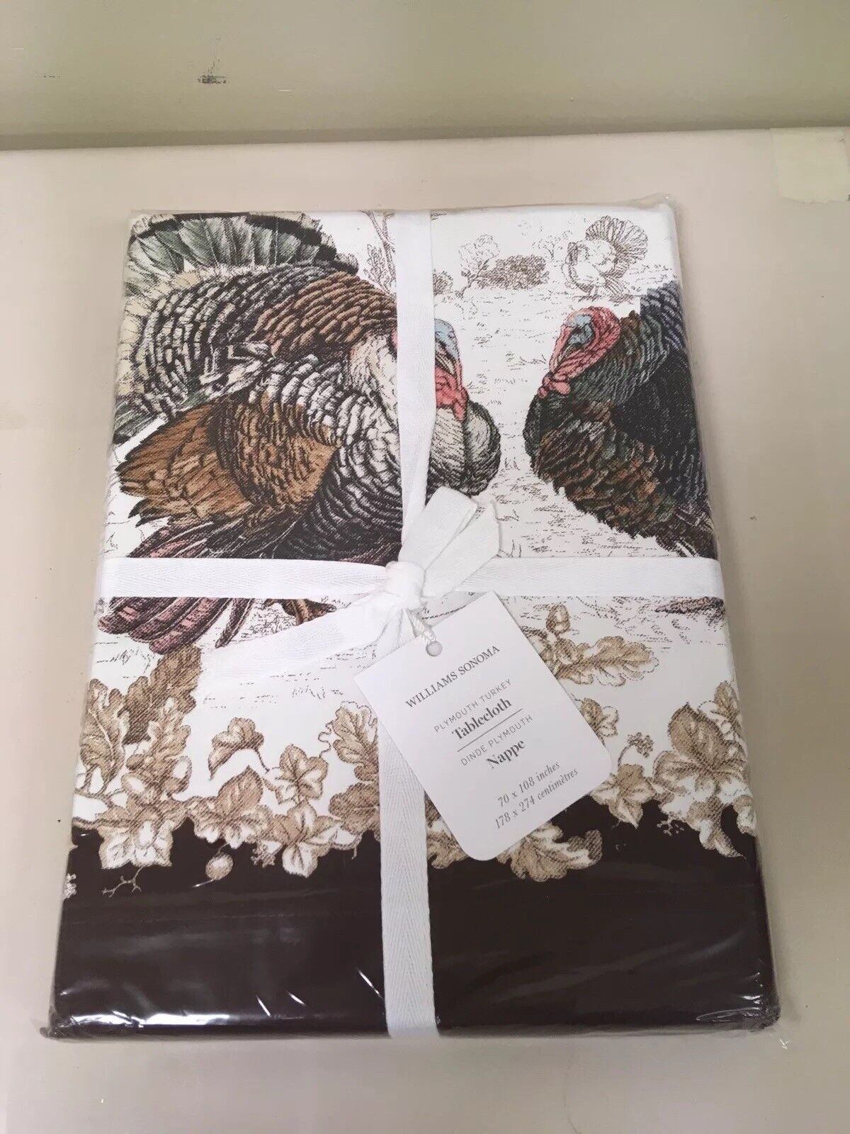 Williams Sonoma Plymouth Turkey Tablecloth 70 x 120 Thanksgiving Table Decor