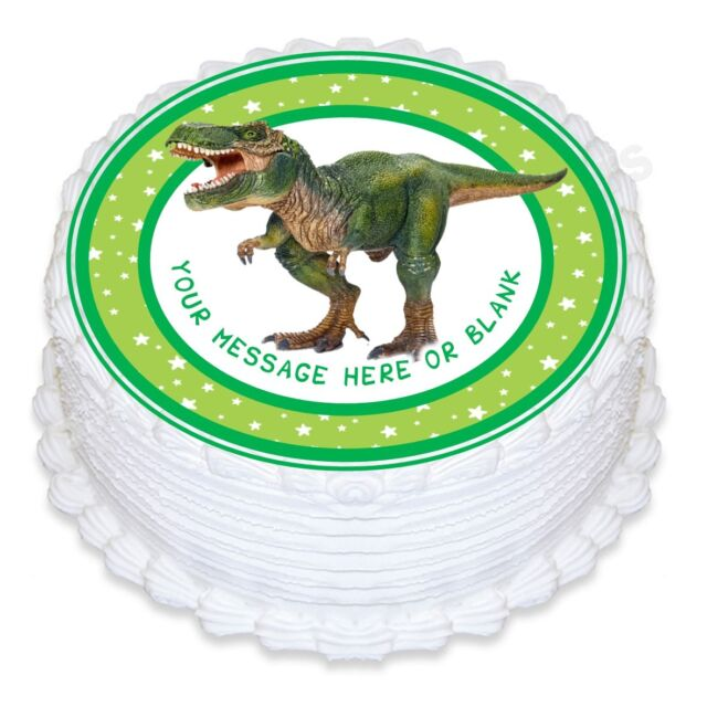ND3 T Rex Dinosaur Birthday Personalised Round Cake Topper Edible Icing