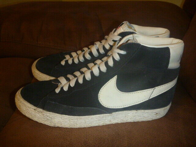 NIKE BLAZER HIGH VINTAGE SIZE UK 4 blueE LEATHER SUEDE EUR 36.5 TRAINERS