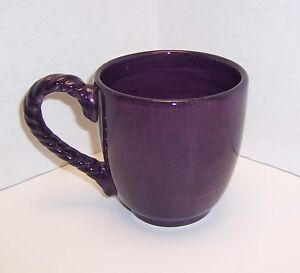 Tabletops-Unlimited-Lucca-Plum-Purple-Large-Coffee-Mug-Rope-Handle-Hand-Painted
